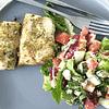 Lemon & herb hake with Greek Salad
