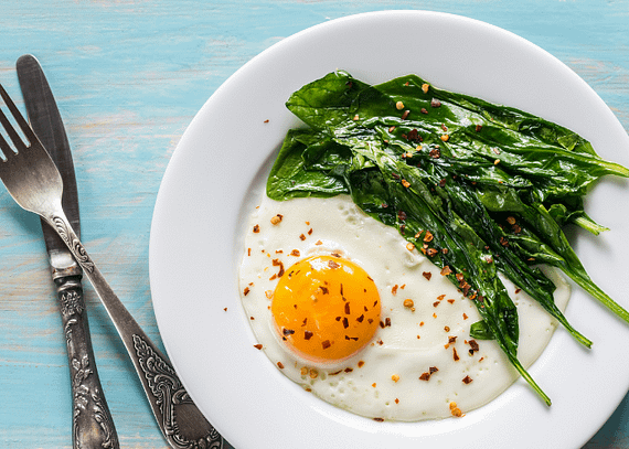 FRIED EGG AND SPINACH